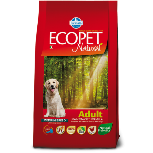ECOPET Natural Adult Medium 12kg+2kg 21.06.025